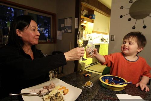 toasting at xmas dinner   wine to kombucha