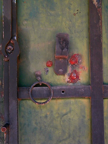 rusty green door