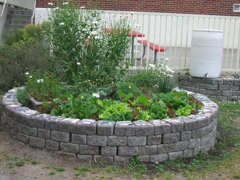 School garden in summer greenwalks for Circular raised garden bed ideas