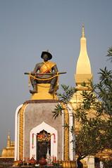 King Sethathirath Statue & Pha That Luang, Vientiane, Laos