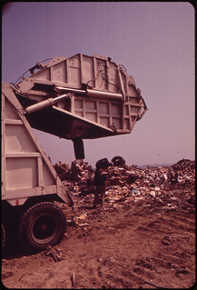 Garbage Truck at Croton Landfill Operation along the Hudson River 08/1973