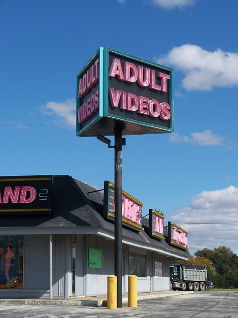 Neon sign for Adult Videos near Bradner, Ohio.