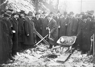 Bloor St. Viaduct (Don Valley), turning of first sod by Mayor T. L. Church [OHQ-PICTURES-S-R-578]