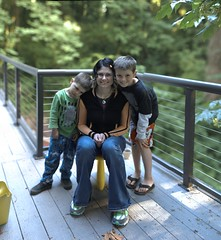 rachel and her boys on the back deck, after planting…