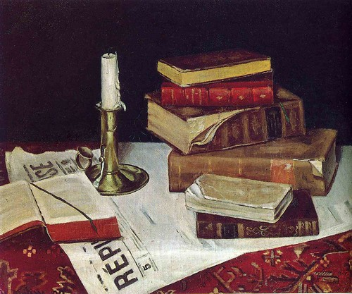 Henri Matisse still-life-with-books-and-candle-1890