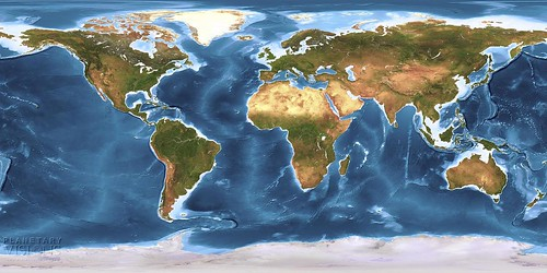 Global Earth texture map with bathymetry