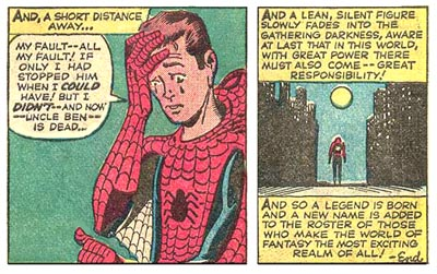 Peter Parker - Spiderman - Power and Responsibility Quote