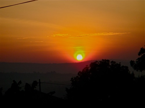 africa morning red orange sun sunrise rwanda