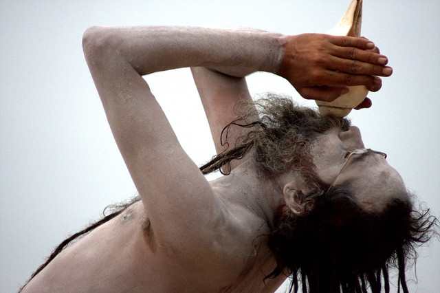 A Saddhu Blows A Conch At Dawn, Varanasi