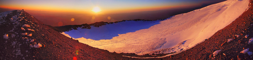 Mt Rainier summit crater panorama at sunrise