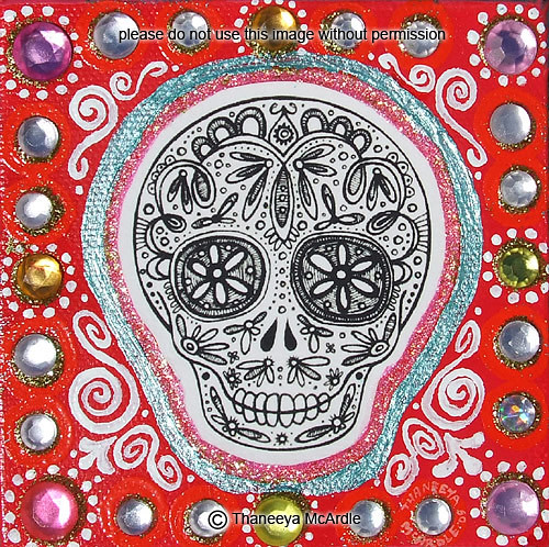 Title Sugar Skull I Size 4 x 4 Medium Mixed Media including acrylic