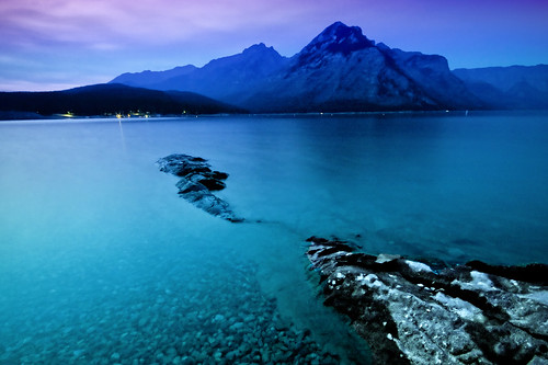 Midnight at Lake Minnewanka
