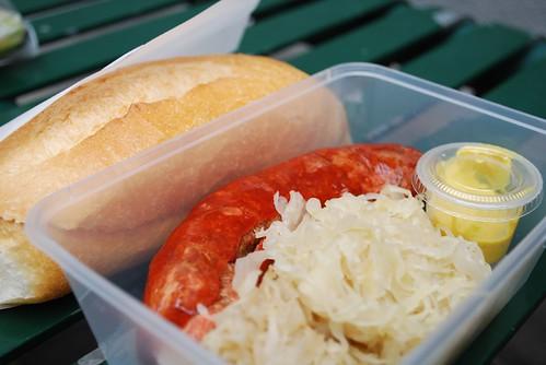 Takeaway box - Mild Bratwurst with Sauerkraut - The Bratwurst Shop AUD5.60