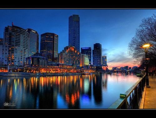 longexposure blue sunset reflection nature water skyline clouds skyscraper canon lights australia melbourne wideangle victoria southbank lamppole hdr 1740 eurekatower yarrariver 3xp photomatix 5dmkii trinitypedestrianbridge daleallman