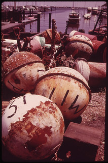 Old Buoys on Wharf in Staten Island 05/1973