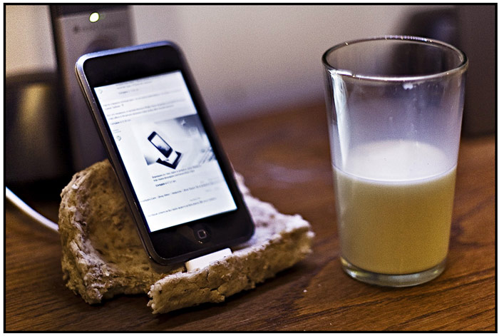 iPod Touch/iPhone dock, made of bread