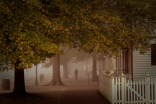 morning autumn fall leaves fog architecture virginia foggy colonialwilliamsburg cw dogstreet dukeofgloucesterstreet explored yip2009