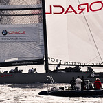 Rolling the genoa aboard BMW Oracle metres ahead of ETNZ