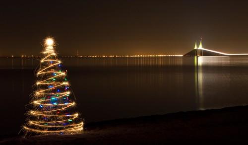 Sparkler Christmas Tree at the Skyway Bridge