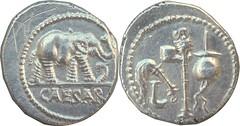 443/1 #09192-39 CAESAR Julius Caesar Gaul mint 49BC Elephant snake Simpulum sprinkler axe apex Denarius