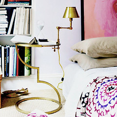 Pink + gold bedroom, from Domino magazine