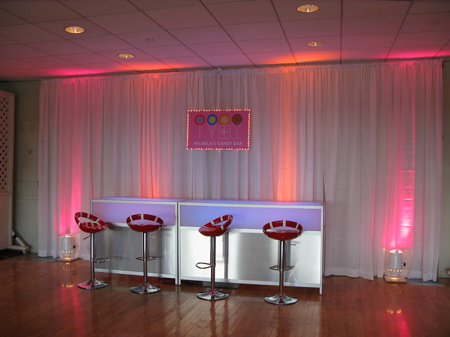 Candy Themed Bat Mitzvah candy bar with stools Blue Hills Country Club in