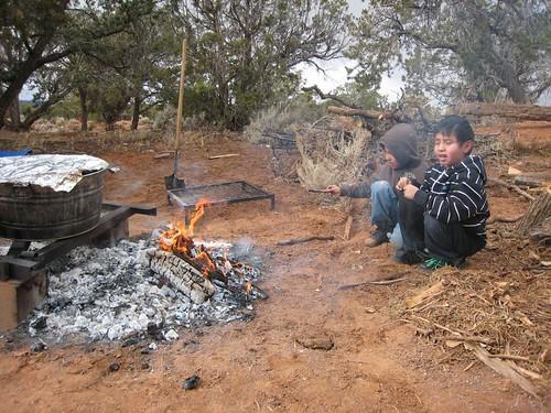 REZ, Navajo Children, cooking outdoors, fir… IMG_1160