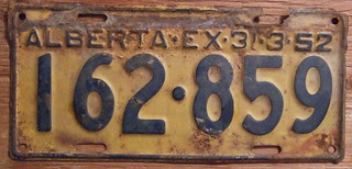 THE FIRST PLATE IN MY LICENSE PLATE COLLECTION FOUND IN 1967, LAC LA BICHE, ALBERTA