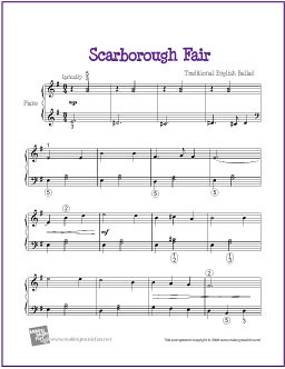 Scarborough Fair   Free Sheet Music for Easy Piano - a photo on ...
