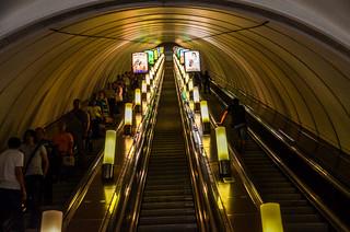 Nievsky Prospekt metro station in Saint Petersburg, Russia. Some escalators are even longer than this.