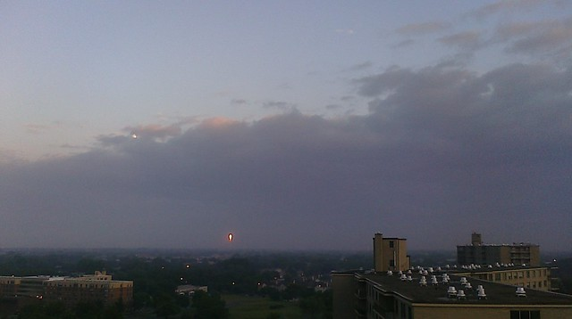 sunset on the Sears Tower in the distance