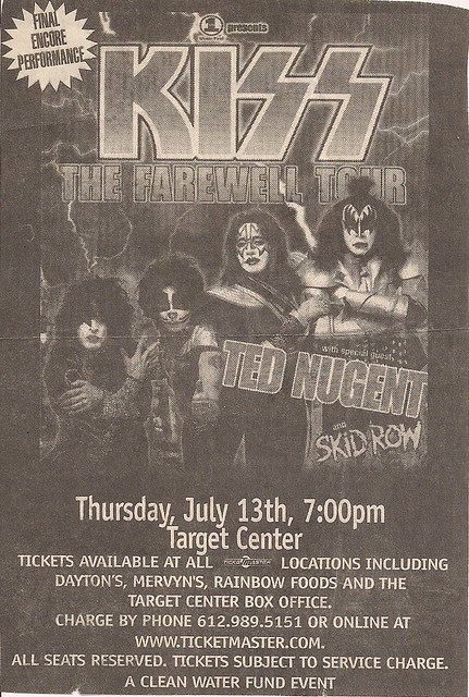 07/13/00 Kiss/Ted Nugent/Skid Row @ Minneapolis, MN (Ad #2)