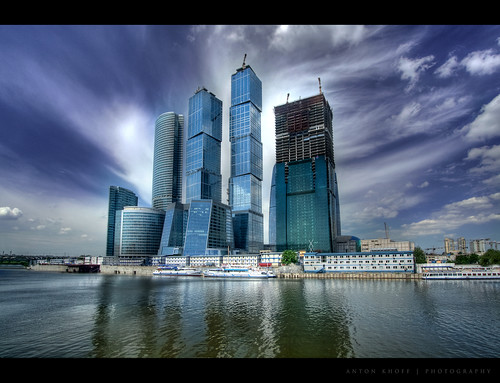 city blue sky urban reflection building water architecture clouds canon construction skyscrapers moscow wide wideangle center business international 1022mm hdr moscowcity canon1022mm mibc 1000d antonkhoff