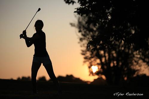 sunset girl silhouette golf nc north carolina links golfer hollyridge archdale katiewiggins