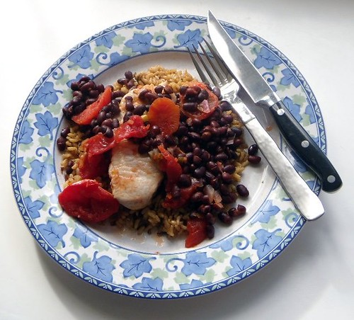 """Southwestern"" Pork Chops W/ Black Beans & Rice"