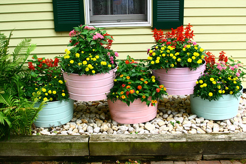 Galvanized washtubs in my cottage garden for Tin tub planters