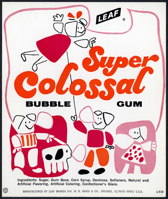 Candy Machine Vending Insert Card - Leaf Super Colossal bubble gum - 1970's