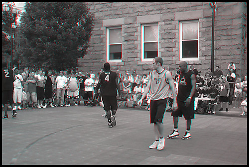 rubbertoe lancaster ohio oh downtown city town basketball sports play playing guys men boys people 3d stereoscopic gray color red cyan anaglyph anaglyphs three dimensional hoop hoops game athlete athletes guy boy man dude black white street main broad june 19 19th 2011 tournament contest competition kids young teen teenage adult team players player group