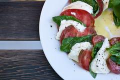 meal, breakfast, salad, vegetable, caprese salad, mozzarella, meat, produce, food, dish, dairy product, cuisine,