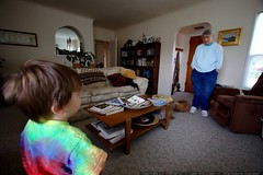 great grandson and great grandma regard one another …