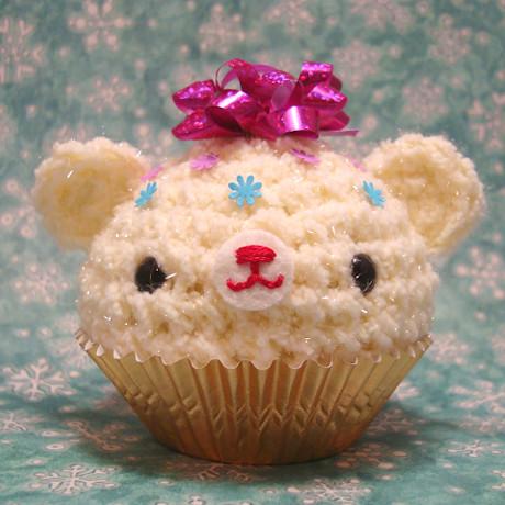 Amigurumi Holiday cream cupcake bear with pink gift bow ...