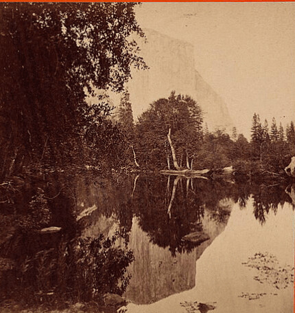 (animated stereo) Yosemite reflections: El Capitan from foot of valley, 1860-1865 (Triptych)
