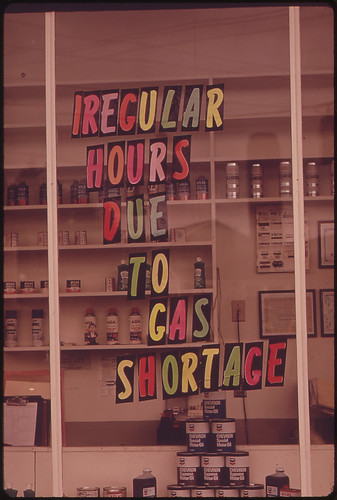 Gas Station in the Portland Area, Away From the Freeway. One of Many Signs Reflecting Gas Shortage 06/1973