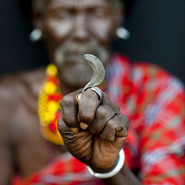 Turkana tribe secret weapon, a finger blade - Kenya