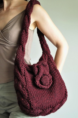 Soul of a Vagabond - classic cable handknit shoulder bag - eco-fashion