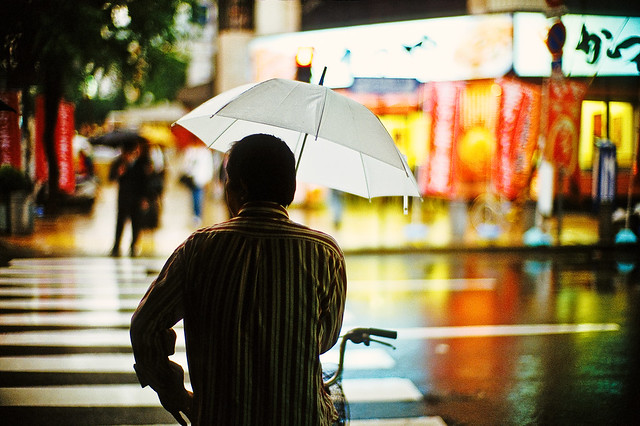 Man in the October rain - Beautiful Bokeh Photography