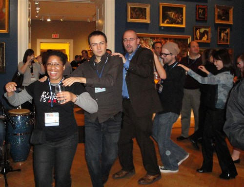 Conga line at the RISD Museum reception