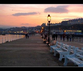 Whitby Pier and sunset