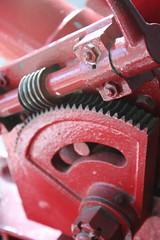 gear, machine, red,