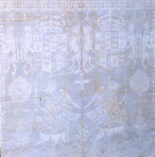 Anne Boleyn's badge on napkin made for her daughter, Elizabeth I